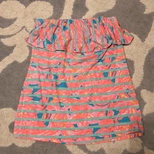 Lilly Pulitzer Striped Strapless Top w Ruffle